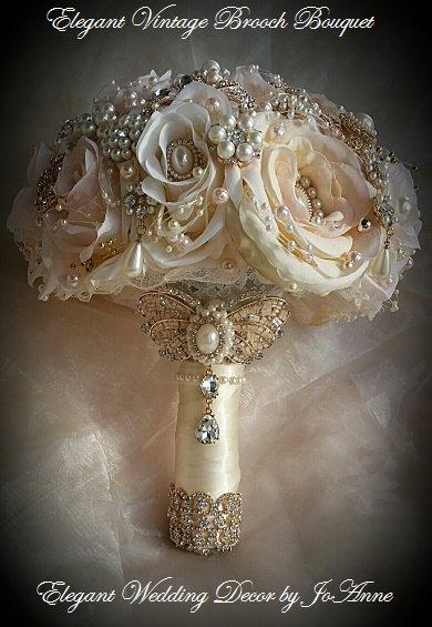 ramo de novia vintage con broches